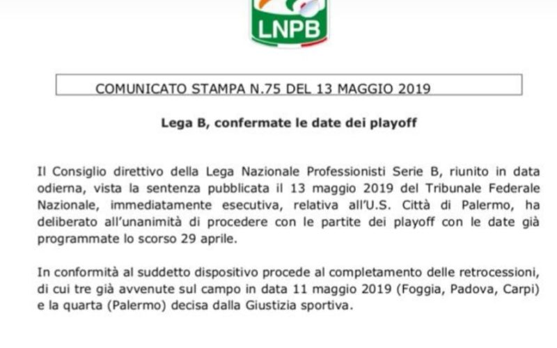 CLAMOROSO IN SERIE B NON SI FARANNO I PLAY OUT, SALERNITANA SALVA!
