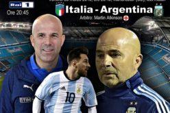 STASERA AMICHEVOLE ITALIA-ARGENTINA A MANCHESTER