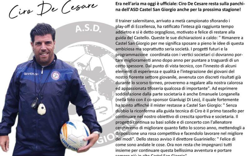 UFFICIALE CASTEL SAN GIORGIO CONFERMATO MR. DE CESARE