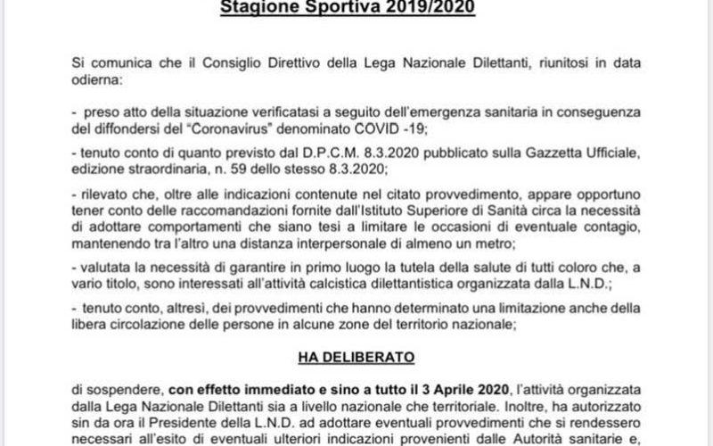 UFFICIALE STOP A TUTTI I CAMPIONATI DILETTANTISTICI FINO AL 3 APRILE PER ALLARME CORONAVIRUS